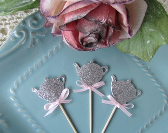 Silver Glitter Teapot Cupcake Toppers, Tea Party, Wedding, Shower, Girl Birthday Party