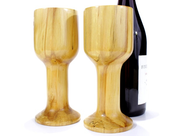 Items similar to wooden wine glass set thick stemmed hand turned and made from birch on etsy - Thick stemmed wine glasses ...