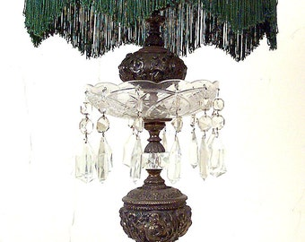Vintage Fancy Table Lamp, Victorian brass and Crystal Table Lamp