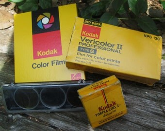 Vintage Kodak Film and Lens Collection. Portra Lens 2+ Series VI, Kodak Vericolor II VPs 120 and Other Lens and Film.  G-025