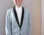 50's Vintage Men's Blue Brocade Formal  Jacket XL