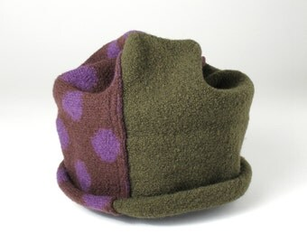 Ski Hat Beanie, Brown, Green and Purple, Knit and Felted Merino Wool, Adult Size