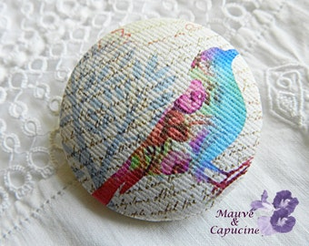 Fabric button, printed bird, 24 mm / 0.94 in