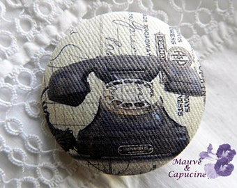 Fabric button, printed telephone, 0.94 in / 24 mm