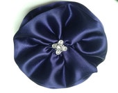 Navy Blue Hair Bow created with Elegant Satin and Antique Silver and Rhinestone Center