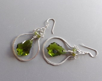 Hammered Sterling Hoops Olive Green Wirewrapped Crystals Earring