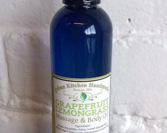 Grapefruit Lemongrass Massage Oil /Body Oil/ Grapefruit/ Lemongrass/skin care 4oz.