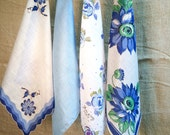 Vintage Hanky Lot in Shades of Blue • Vintage Hanky •  Handkerchief •  Hanky • Hankies Lot • Vintage Hankies