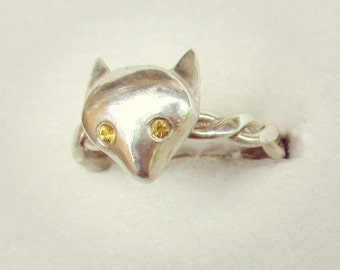 Sterling silver fox ring, citrine ring, teenage girl ring, small size ring, size 6 ring, animal jewelry, fox jewelry, fox head ring