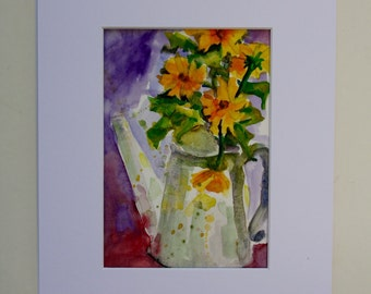 Daisey Painting - Original Watercolor - Still Life Flowers - flowers in vase - watering can - wall art - fine art home decor - handmade