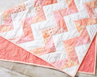 Chevron Coral Handmade Quilt, 39 Inches x 47 Inches