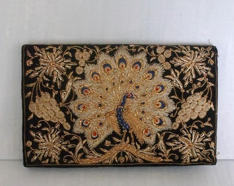 Black Velvet Purse Vintage Peacock Metallic Embroidery.