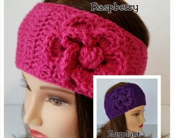 Crochet Headband-Women's Ear Warmer-Teen Head Wrap-Teen Fashion-Girls Flower Headband-Button Closure-One Size Fits Most-NEW COLORS