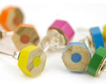 Colouring Pencil Earring Studs Upcycled earrings jewellery hexagon Gift Ladies Upcycling Jewellery Crayon Wooden earrings Handmade Norwich
