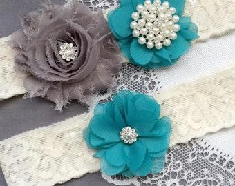Wedding Garter Belt Set Bridal Garter Set Lace Garter Belt Rhinestone Garter Set Crystal Garter Ivory Grey Turquoise GR181LX