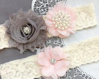 Wedding Garter Belt Set Bridal Garter Set Ivory Lace Garter Belt Pink Flower Garter Set Rhinestone Crystal Pearl Garter GR183LX