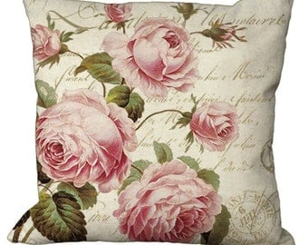 Pink Rose Bush on a French Letter Choice of 14x14 16x16 18x18 20x20 22x22 24x24 26x26 inch Pillow Cover