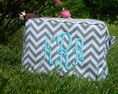 Monogrammed Makeup Bag- Monogrammed Toiletry Bag- Monogrammed Costmetic Bag- Bridesmaid Gift- Wedding Party Gift- Personalized Cosmetic Bags