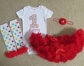 Baby Girl 1st Birthday Outfit - Rainbow Circus Dots Personalized Bodysuit, Red Pettiskirt Tutu, Leg Warmers - Girls First Birthday Outfits