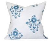 Beatrice Bouquet Indigo Pillow Cover (Single-Sided) - Made-to-Order