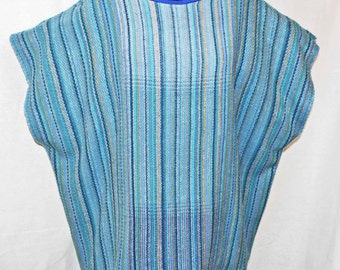 Blue cotton over sized sweater, hand woven plus size blue cotton top, light summer top