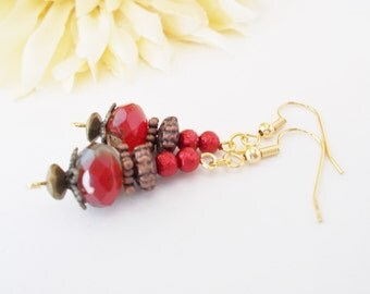 Boho Beaded Earrings, Bohemian Dangle Earrings, Red Pearl Drop Earrings, Copper Earrings, Clip On, Czech Glass Earrings, Red Flower Jewelry