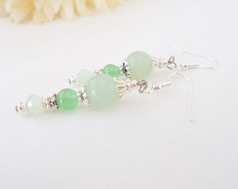 Green Quartz Earrings, Mint Green Earrings, Light Green Czech Glass Earrings, Bridal Earrings, Bridesmaids Gift, Nickel Free, Clip On