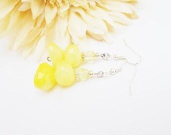 Lemon Yellow Earrings, Yellow Czech Glass Earrings, Stone Earrings, Beaded Earrings, Sterling Silver, Light Yellow Earring, Wedding Earrings