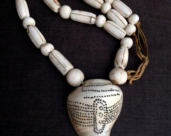 Antique tribal conch shell necklace