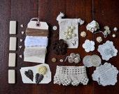 Create Vintage Mixed Media Art Kit - Junk Drawer - Destash - Lot - Jewelry - Lace - Buttons - Ephemera - No. 2