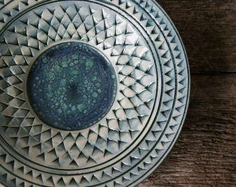 "Made to Order.....10"" Platter / Handmade Pottery / Blue Pottery / Textured / PRE-ORDER"