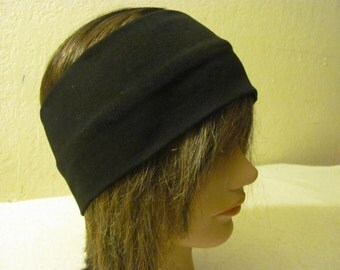 Black Headband, Yoga Headband, Boho Headband, Stretchy Headband Unisex Headband, Buff Headband.