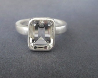 White Topaz ring Octagon Emerald Cut sterling silver Bling ring Ready to Ship Sz 7