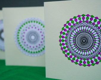 Purple and Green Spirograph card set (4)