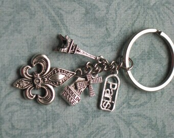 I Love Paris Heavy Duty Silver Chain Key Ring or Zipper Pull