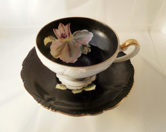 Vintage Royal Sealy China Porcelain, Made in Japan, Black Cup and Saucer, Orchid