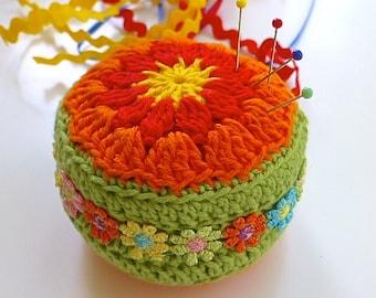 Crochet pincushion, flora pincushion, pin tidy, fiesta themed pincushion, Free UK postage, craftroom accessory, sewing aid, Mexican theme