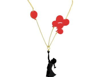 Girl with Balloons, Valentine's Day gift, Birthday gift, Black & red plexiglass (perspex) necklace, Banksy girl, laser cut jewelry.