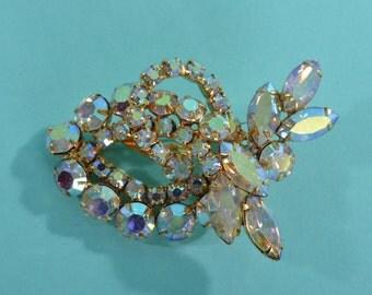 Vintage 1950s Aurora Borealis Brooch - Rhinestone Wedding Pin - 1960s Bridal Fashions