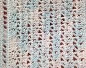 Crocheted Miniature Dollhouse Blanket Blue Ice