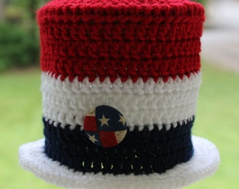 4th of July Top Hat, Baby Hat, Independence Day, Boy or Girl, Red, White and Blue, Top Hat, Newborn Photo Prop, READY TO SHIP