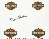 HARLEY DAVIDSON Cotton Quilt Fabric CLASSIC Logo  Allover on White """"