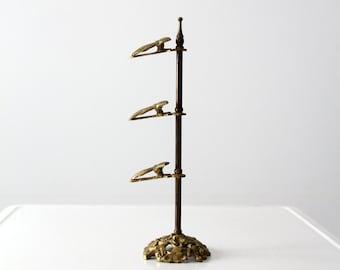 antique brass letter holder, Victorian clip stand, brass clip rack
