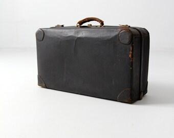 1930s black leather suitcase, vintage luggage, stacking luggage