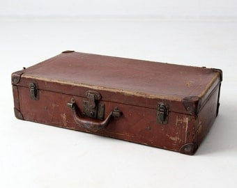 antique suitcase, 1900s brown luggage, hard board suitcase