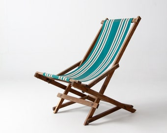FREE SHIP  vintage striped deck chair, rocking deck chair, folding beach chair