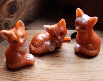 FOX SOAP, Set of 3 Baby Foxes Set, Auburn Orange Baby Foxes, Novelty Soap, Animal Soap, Party Favors, Custom Scented