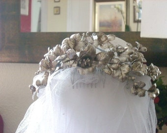 Laura M- Vine leaves Bunches of grapes- Original headpiece- Half Crown-Silver leaves-Wedding fascinator