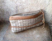 Pouch in Tan Leather and Natural Handweave for Cosmetics or Pencil Case.  Ready to Ship.
