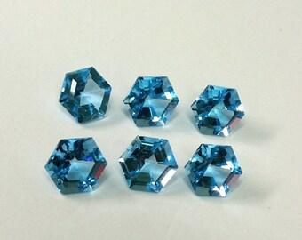 Nature Swiss Blue Topaz 7mm Hexagon Gemstones